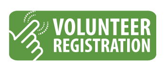 Volunteer registration button with a hand clicking the button